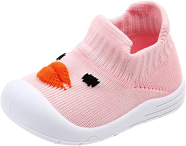 Toddler Infant Slip On Sneakers Baby Girls Boys Cartoon Duck Mesh Soft Sole Sport Shoes Recommended Age 6 9Months Pink