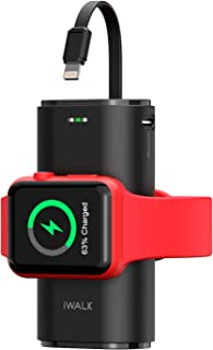 iWALK Bärbar Apple Watch-laddare, 9 000 mAh powerbank med inbyggd kabel, Apple Watch och telefonladdare, kompatibel med Ap...