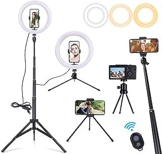 """Luce ad Anello LED 10"""" Dimmerabile con Treppiedi Fotografico da Tavolo Bastone Selfie Anello Luminoso per YouTube TIK Tok ..."""