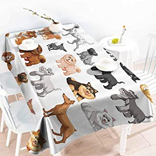 Homrkey Stain-Resistant Tablecloth Dog Lover Decor Collection Different Type of Dogs Small and Big Dalmatian Golden Fur Fluffy Faithful Creature Brown Gray Soft and Smooth Surface W52 xL72