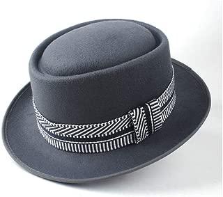 Pork Pie Hat Fedora Trilby Pork Pie Hat with Ribbon Outdoor Travel Wild Hat Men Women Wide Brim Hat Size 58CM (Color : Gray, Size : 58)