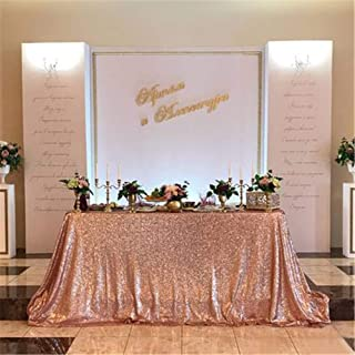 B-COOL 90inx132in Rectangle Rose Gold Sequin Tablecloth Sparkle Tablecloth Glitz Tablecloth Sequin Fabric Tablecloth