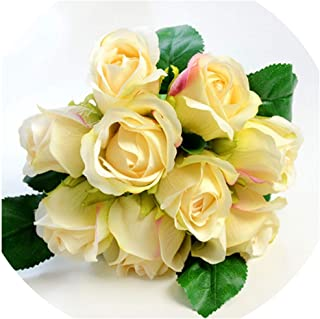 Old street 7/8/9/12pcs/lot Artificial Rose Flowers Wedding Bouquet New Year Pink Royal Rose Silk Flower Home Decoration Wedding Party Decor,9PCS Beige