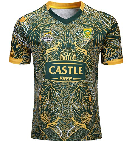 CRBsports Team Südafrika, Springboks, 7s, Rugby Jersey, Neue Stoff Bestickt, Swag Sportswear (Grün, L)