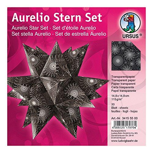 Ursus 34155500 - Faltblätter Aurelio Stern Black & White, Spiralornament, 33 Blatt, aus Transpatentpapier 115 g/qm, ca. 14,8 x 14,8 cm, einseitig bedruckt, ideal als Weihnachtsdeko