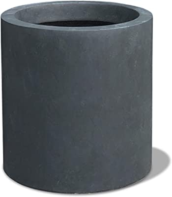 Kante RC0119A-C60121 Lightweight Concrete Outdoor Modern Cylindrical Planter, 9.8 Inch Tall, Charcoal