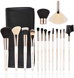 ZOREYA Makeup Brush Set,15pcs Rose Gold Luxury and Fashion Makeup Brushes,Professional Premium Synthetic Foundation Powder Concealers Eye Shadows Makeup brushes Set with Perfect Vegan Leather Bag