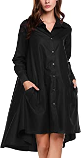 Women's Casual Irregular Hem Shirt Dress Loose Top Tunic with Pockets