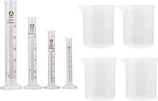 Balacoo 4pcsTransparent Plastic Graduated Cylinders Glass Graduated Cylinder Set 5ml 10ml 25ml 50ml with 4pcs Plastic Beak...