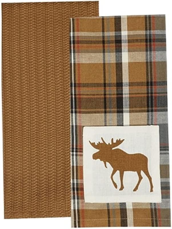 Park Design Cotton Applique Roaring Thunder 2 Dishtowel Set Moose Kitchen Linens