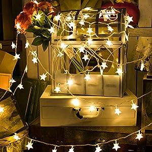 Cadena de luces LEEDY de 40 luces LED de 6 m, funciona con pilas, para decoración de ambiente en el hogar