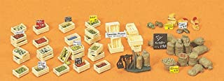 Fruit & Vegetable Boxes & Sacks Assortment w/Scale (Kit) HO Scale Preiser Models