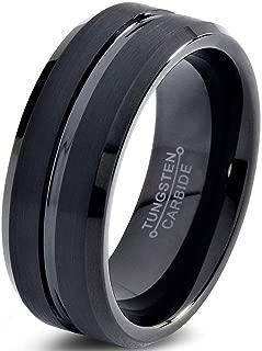 Tungsten Wedding Band Ring 8mm for Men Women Comfort Fit Black Beveled Edge Brushed Custom Laser Engraving