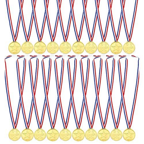 WELLXUNK 20 Gewinner Medaillen Gold Kunststoff für Party Sportstag Spielzeug preisen Awards
