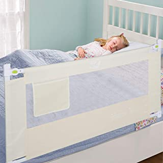 Greensen Bed Rail Guard for Toddlers Kids Foldable Portable Baby Children Safety Bedrail with Safety Lockable Buckle, Vertical Lifting Design, 8 Height Adjustable, 70.8in