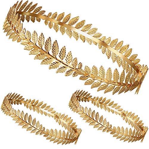 meekoo Römischer Kopfschmuck Gold Blatt Kronen Kopfschmuck Römisches Blatt Stirnband Toga Kopfbedeckung (3 Stücke, Metall)