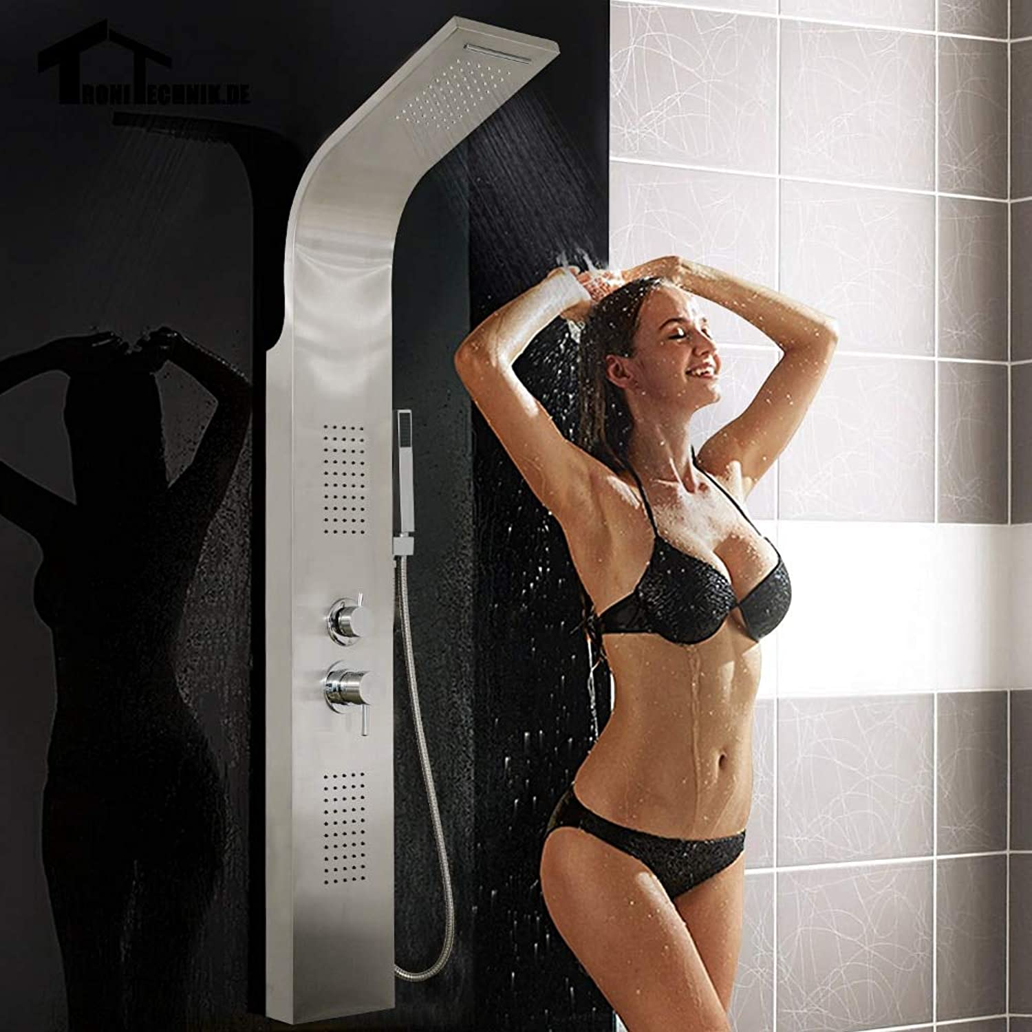 1set Curved Stainless Steel Shower Panel Rainfall Shower Set Massage System Faucet Jets with Hand Shower Tower Shower Column,United Kingdom