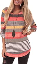 HUHHRRY Women's Casual Color Block Short Sleeve T Shirt Tunic Tops Blouse