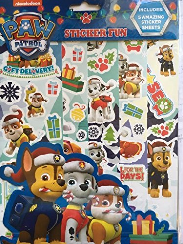 Paw Patrol Christmas Reusable Sticker 5 Sheets