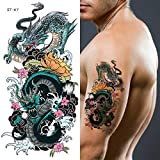 Supperb Temporary Tattoos - Two Blue Dragons (Set of 2)