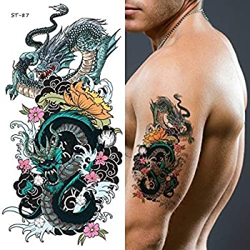 Supperb Temporary Tattoos - Two Blue Dragons  Set of 2