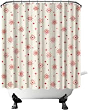 Snowflakes Shower Curtain Christmas Bathroom Curtain with Pale Yellow Background Red Stars Winter Holiday Theme Fabric Hom...