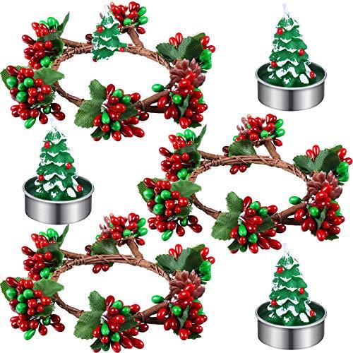 3 Titolari Votivi di Natale Anelli Portacandele Natalizi Anelli di Corone di Candela di Bacche Artificiali Rosse con 3 Candele Tealight dell'Albero di Natale per Decorazioni Feste in Casa