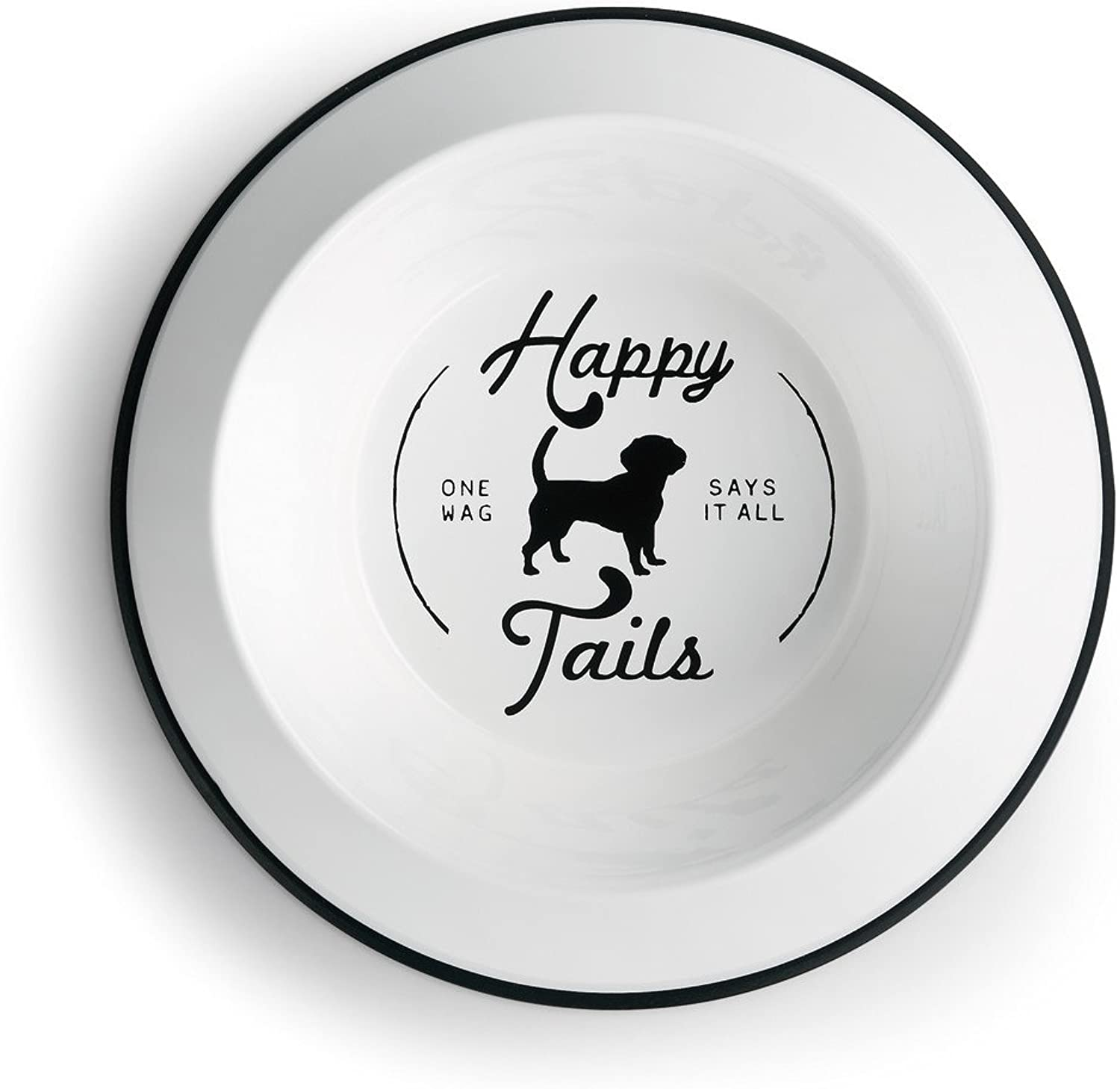 DEMDACO Happy Tails One Wag Dice tutto White 9 pollici Diameter Metal Dog Bowl