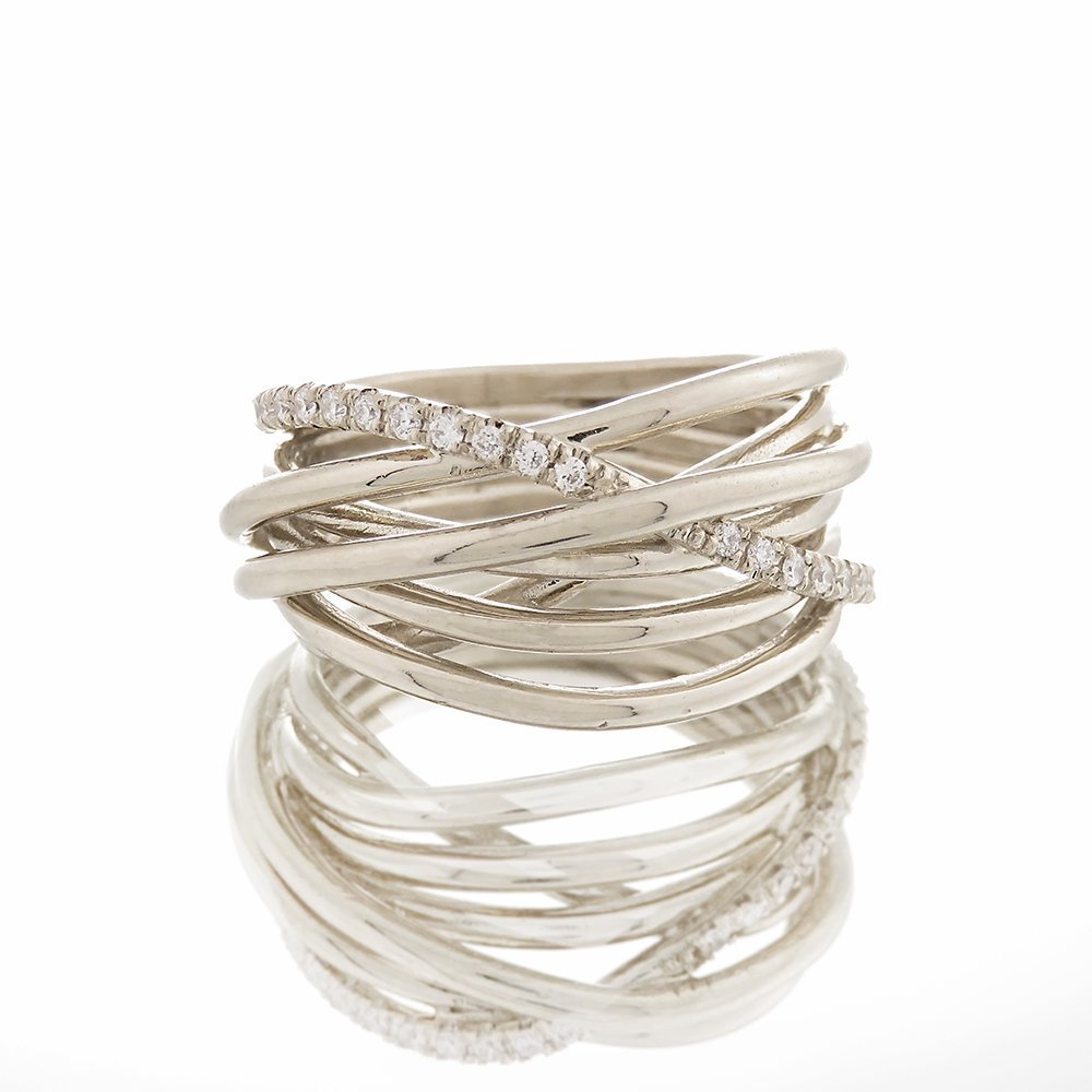 Manufacturer regenerated product Solid White Gold and 30 Intertwined diamonds Engageme Charlotte Mall or Wedding