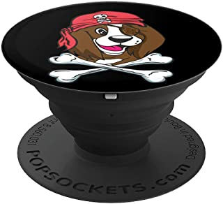 Funny Brittany Spaniel Pirate Halloween Dog Lover Gift PopSockets Grip and Stand for Phones and Tablets