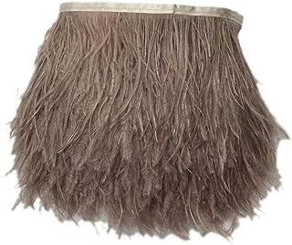 ULTNICE 2M plumas de avestruz simulados recortar flequillo con cinta de cinta de raso para el vestido Costura artesan/ía trajes decoraci/ón DIY verde negruzco