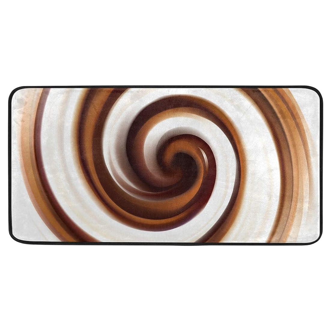 抵当シェル進むカオリヤ キッチンマット 螺旋柄 らせん柄 スパイラル柄 100×50cm 長方形 ロングマット 長い ブラウン デザインドアマット 滑り止め