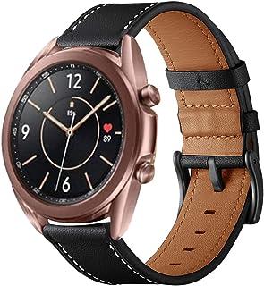 VICARA バンド Compatible with Galaxy Watch 3 41mm バンド 高級レザー 留め金 高耐久性 交換ベルト オシャレ スーツ スタイル 快適 簡単取付(ブラック)