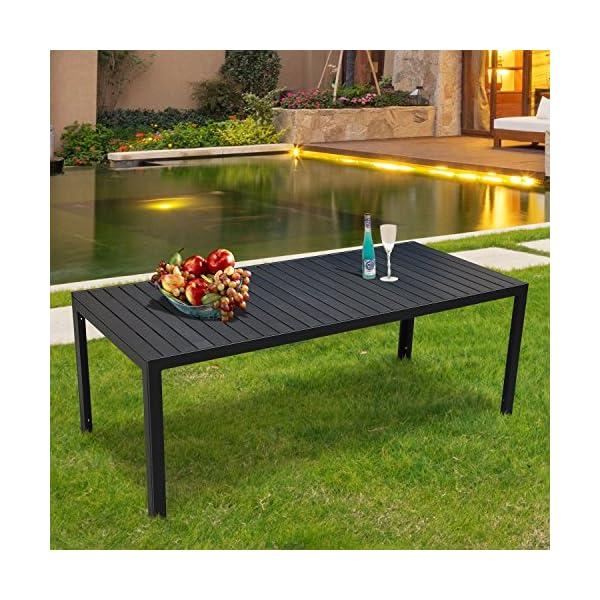 Outsunny Gartentisch Aluminium Tisch Garten Terrasse Holz-Kunststoff WPC Non-Wood schwarz
