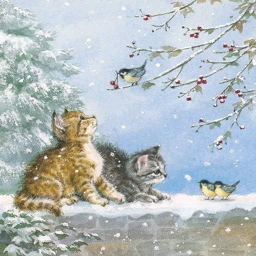 20 servetten katten spelen met vogels als winterse tafeldecoratie voor dierenliefhebbers 33x33cm