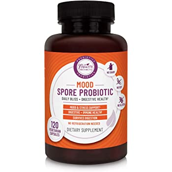 Nature's Instincts Mood Spore Probiotic with Live Strains | Natural Mood Support Supplement | Potent Herbal Complex With Ashwagandha, Magnesium & Sage | No Soy, Dairy, Gluten or GMOs, 120 Capsules