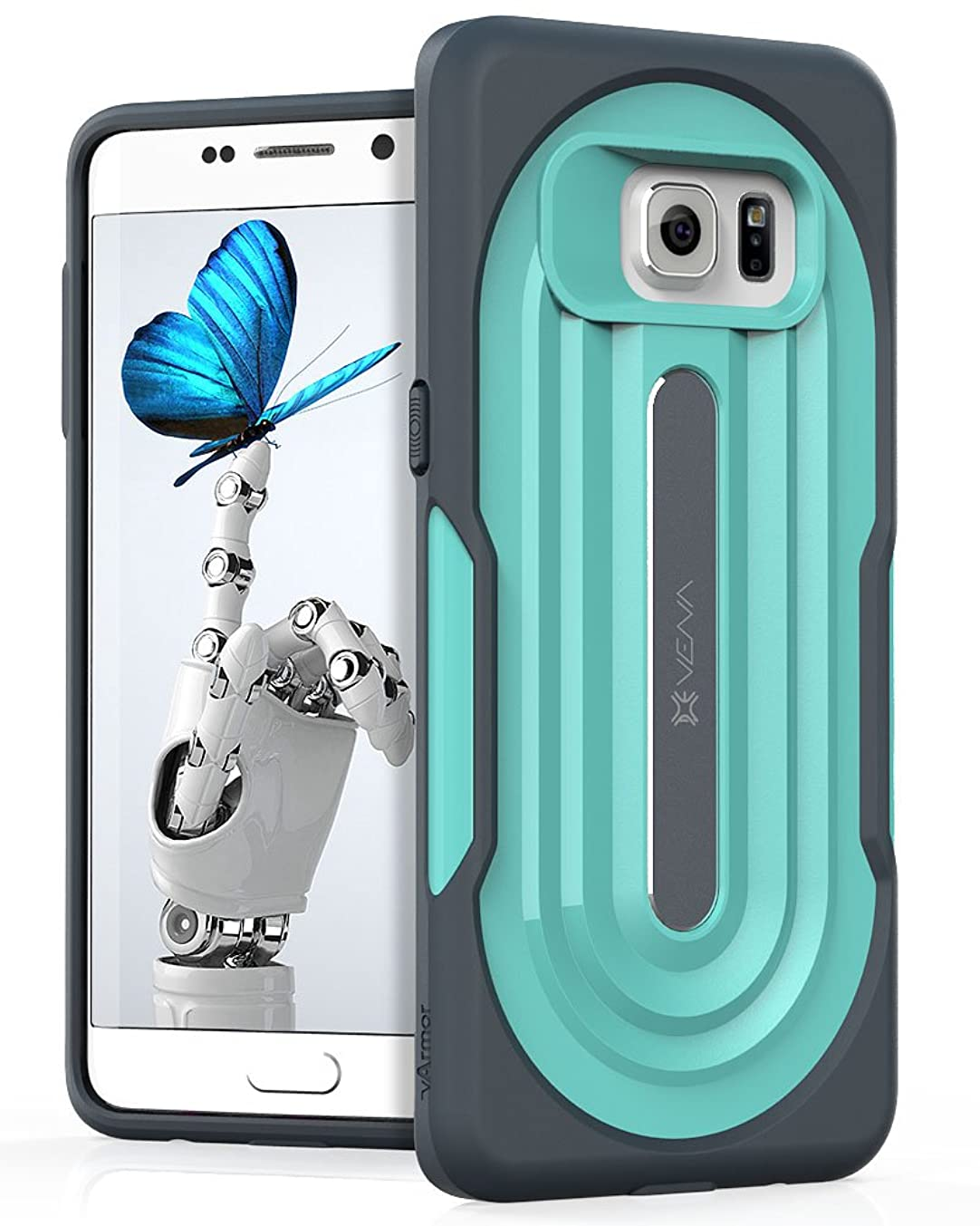 Galaxy S6 Edge Plus Rugged Case, VENA [vArmor] Ultimate Protection [Shock Absorbent | Heavy Duty] Slim Hybrid Rugged Case, for Samsung Galaxy S6 Edge Plus (Dark Gray/Turquoise Teal)