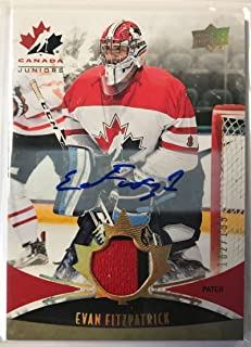 2016-17 Upper Deck Team Canada Juniors Hockey Gold Spectrum Men's Autograph Patches #123 Evan Fitzpatrick MEM Auto 182/1