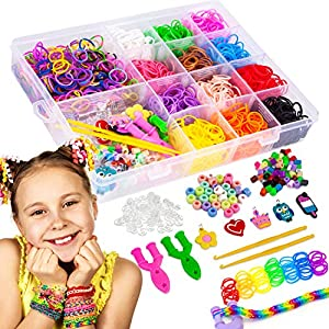 Liberry Rainbow Rubber Bands Bracelet Making Kit for Girls 4 5 6 7 8 9 10 Years Old, 2300+ Loom Bands, All in One Design…