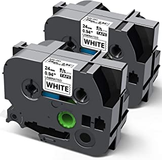 24mm 白 テープ 黒文字 互換 ブラザー ピータッチ Brother P-Touch テープカートリッジ TZe-251 TZe251 Pタッチ ラミネート tzeテープ 2個セット ASprinte
