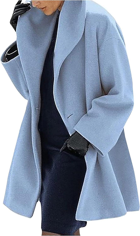 Winter Coats for Women Artificial Wool Trench Jacket Solid Ladies Warm Slim Lapel Mid-Length Overcoat Outwear Pea Coat