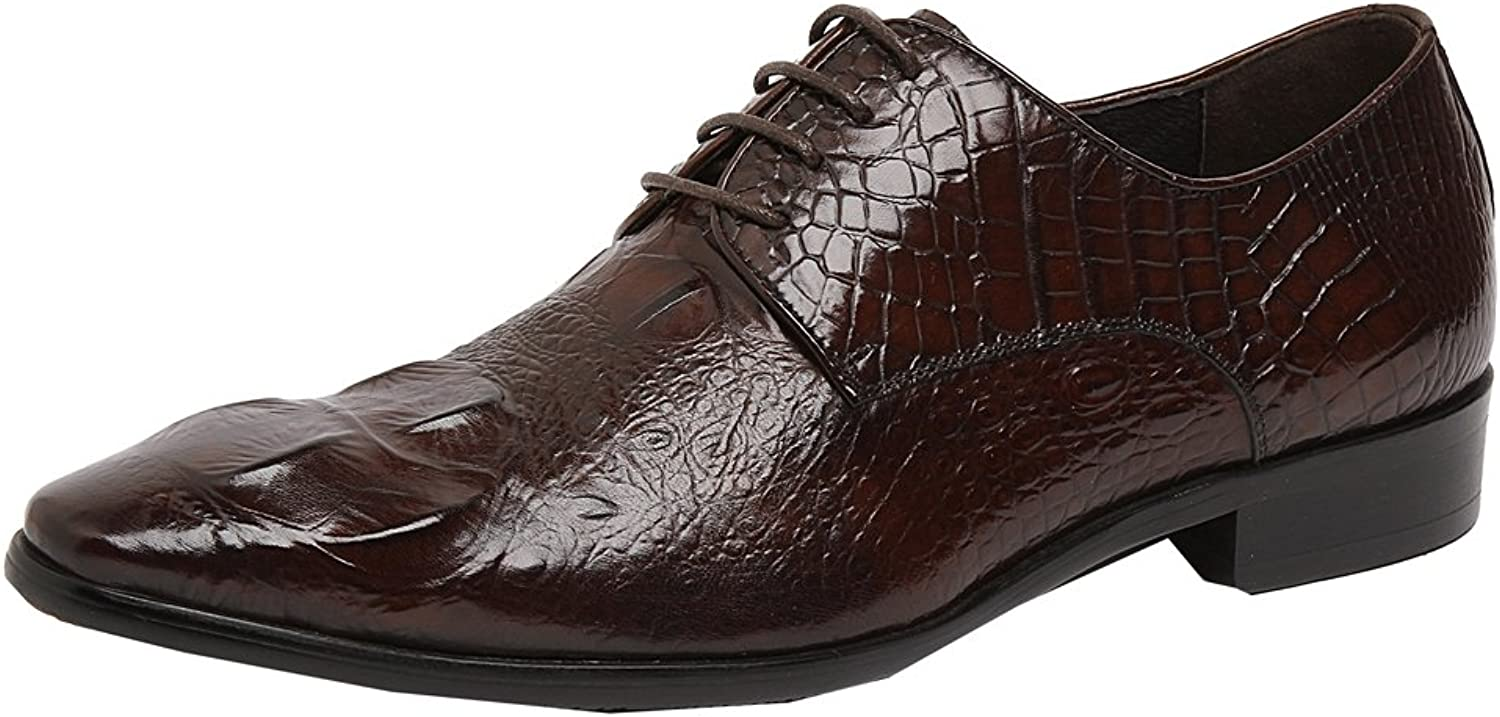 MedzRE Men's Leather Lace Up Formal Emboss Oxford shoes