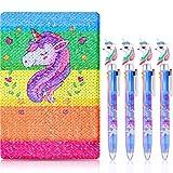 Einhorn Notizbuch Set, 4 Stücke Einhorn Mehrfarbig Kugelschreiber mit Wendepailletten Einhorn Muster Notizbuch für Party Geschenke und Schulbedarf (Farbe 2)
