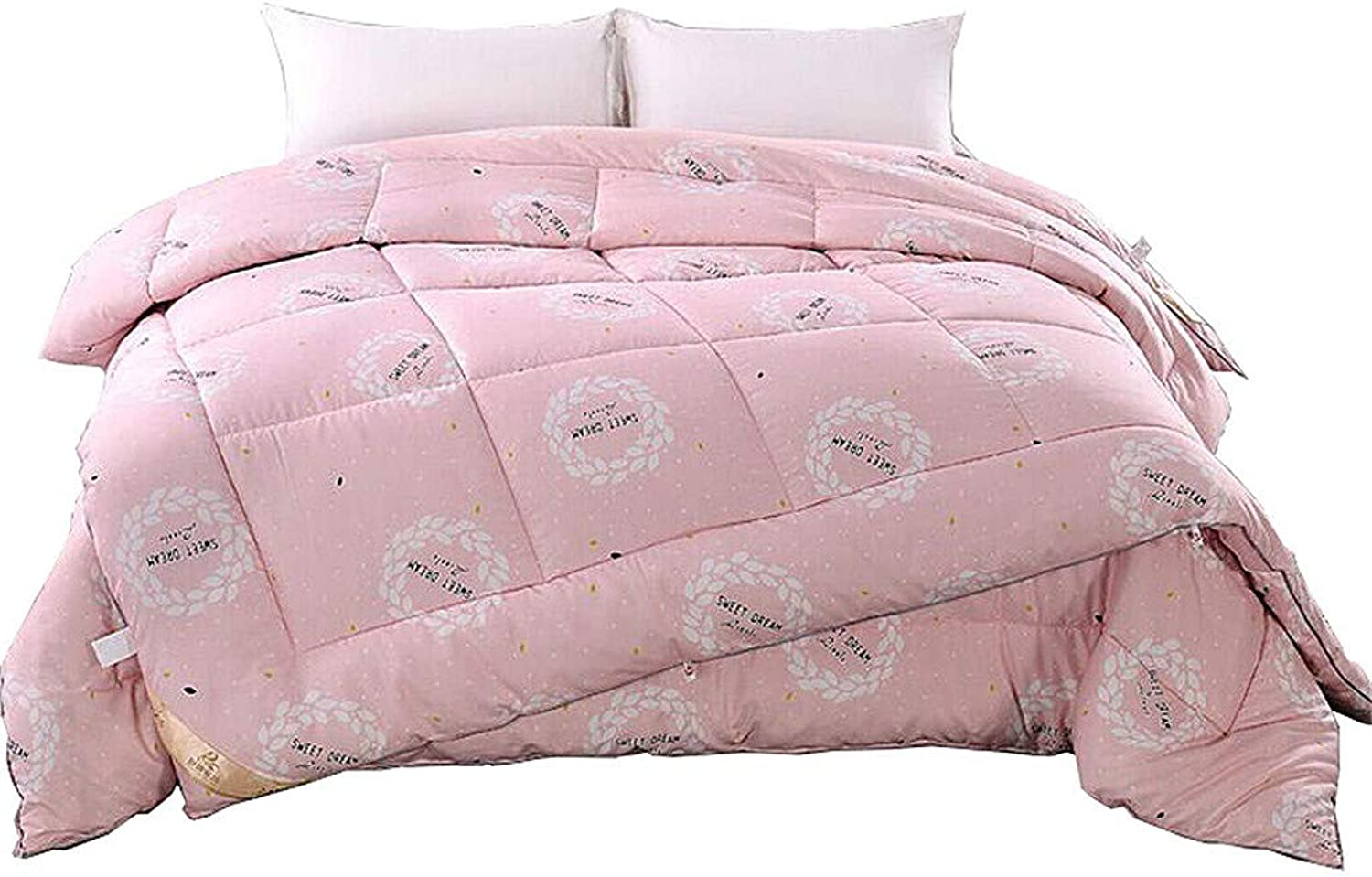 Quilts Stitched Down Alternative Comforter Quilt 100% Cotton Fabrics Thicken Warm and Soft Lightweight Comforter Pink Quilt Warm and Soft for All Season