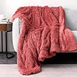 Faux Fur Throw Blanket, Luxury Shaggy Warm Fuzzy Fluffy Elegant Long Hair Washable Decoration Blanket for Sofa Couch and Bed, 50x60 inches, Peach Pink