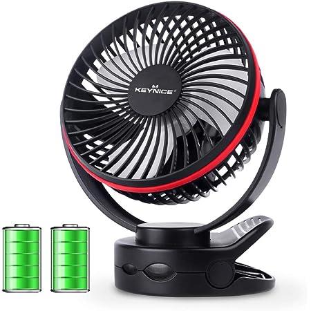 KEYNICE usb扇風機 卓上扇風機 クリップ 充電式 usbファン 超強風 静音 風量4段階調節 360度角度調整 長時間連続使用 LEDライト機能付き ブラック