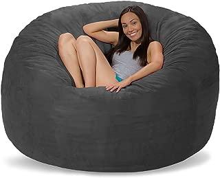 Comfy Sacks 6 ft Memory Foam Bean Bag Chair, Charcoal Micro Suede