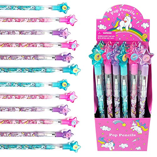 24 Pcs Unicorn Stackable Push Pencil Assortment with Eraser for Unicorn Pink Birthday Party Favor Prize Carnival Goodie Bag Stuffers Classroom Rewards Pinata Fillers