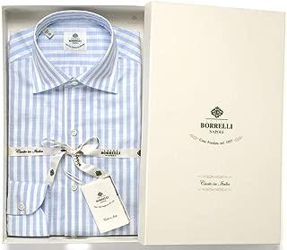 ルイジボレッリ ルイジボレリ LUIGI BORRELLI / 20SS!コットンスラブボイルストライプイタリアンカラーシャツ「NISIDA(9056)」 (ホワイト×サックスブルー) メンズ