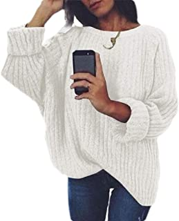 Women's Casual Knit Sweater Round Neck Long Sleeve Pullover Tops